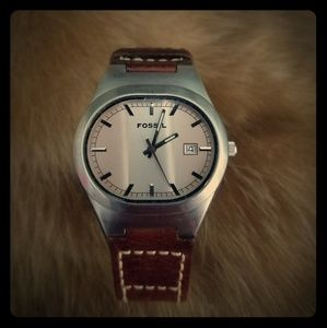 Authentic Fossil Watch with Genuine Leather Band